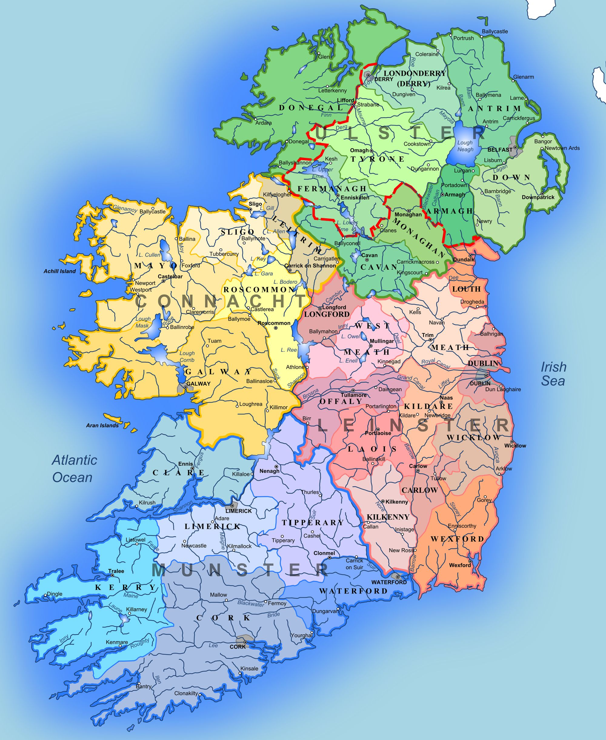 Road Map Of Ireland With Counties.Detailed Large Map Of Ireland Administrative Map Of