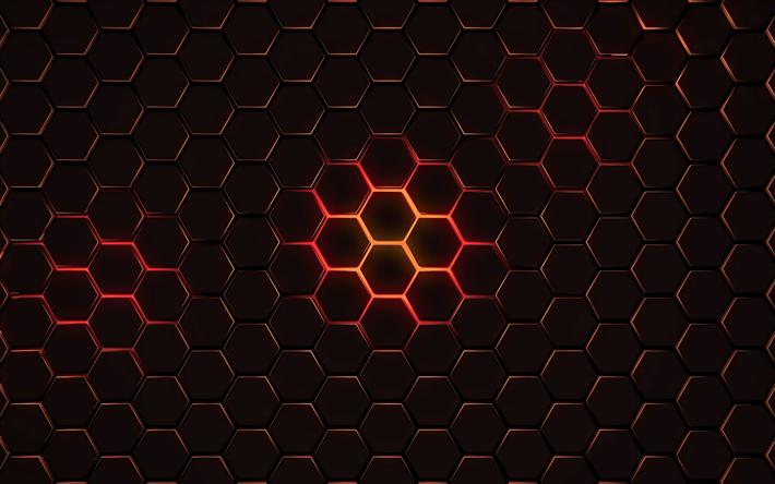 Download wallpapers hexagons, 4k, geometry, geometric