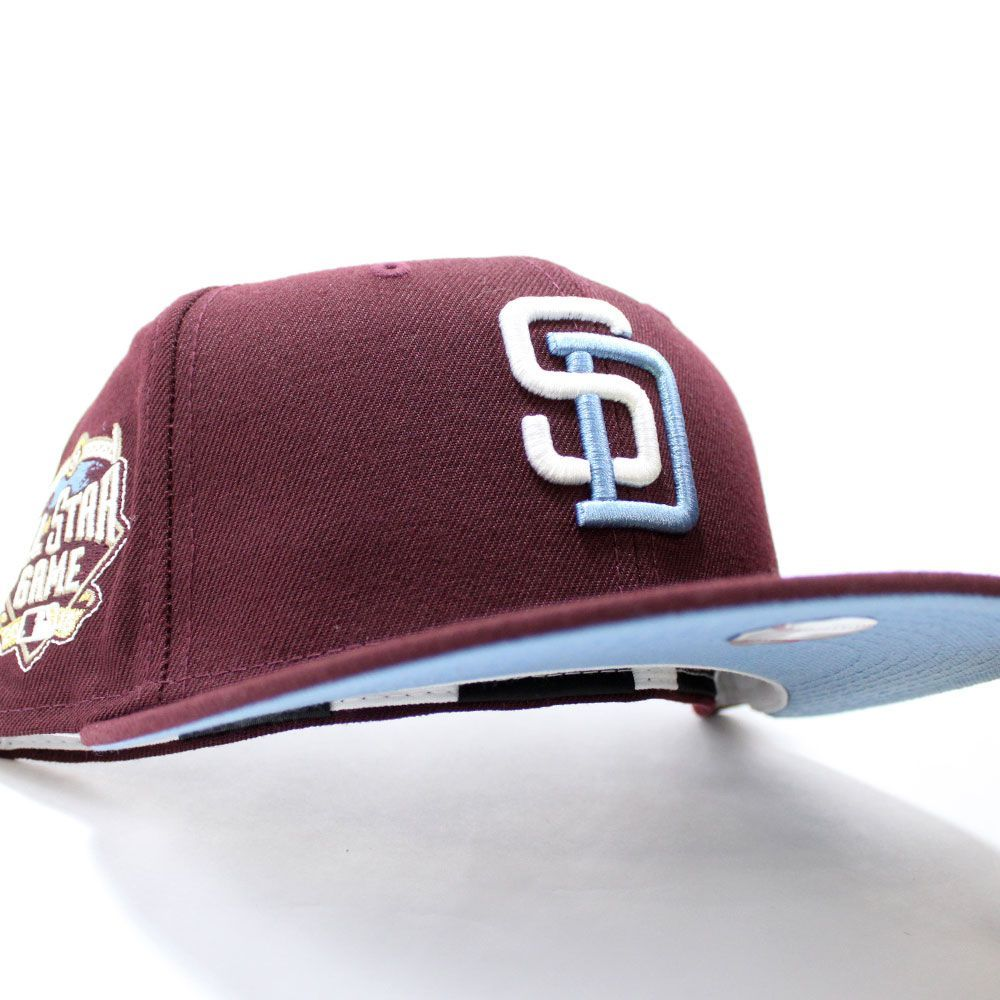 Sandiegopadres 2016 All Star Game Fitted 59fifty Neweracap In Maroon Skyblueuv Ecapcity In 2021 Fitted Hats New Era Cap New Era Fitted