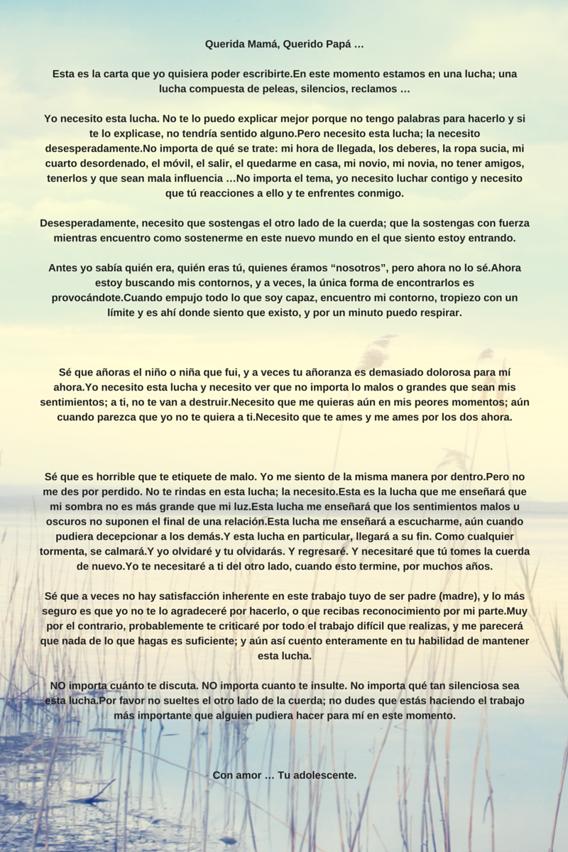 Carta De Un Hijo Adolescente Hijas Adolescentes Carta A Mi Hija Adolescente