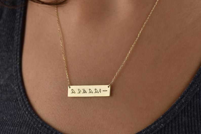 Romen Numeral Necklace, Hieroglyph Necklace Gift, Personalized Bar Necklace, Silver Necklace, Name Necklace, Birthday Gift for Women