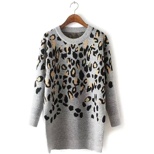Yoins Leopard Print Long Sleeve Sweater Dress ($43) ❤ liked on Polyvore featuring dresses, yoins, grey, long sleeve sweater dress, sexy leopard print dress, gray long sleeve dress, sexy dresses and grey dress