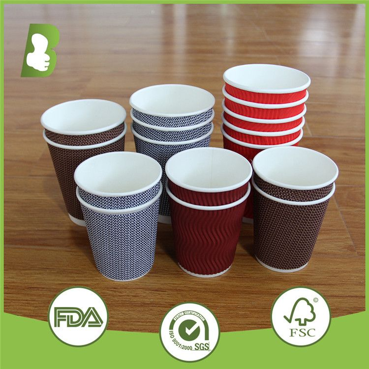 American Market 250ml Water Pure Wood Pulp Ripple Wall Paper Cups