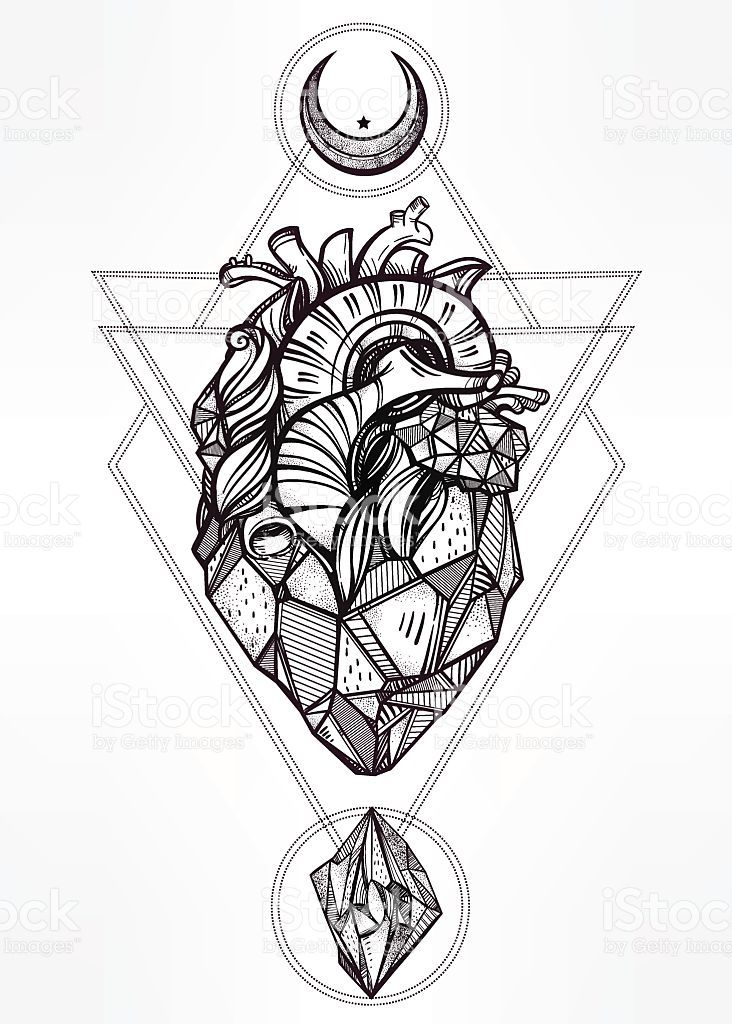 Heart of stone with moons and gems. Design tattoo art