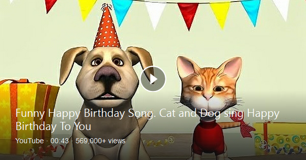 Funny birthday greetings video animation, were cartoon Cat