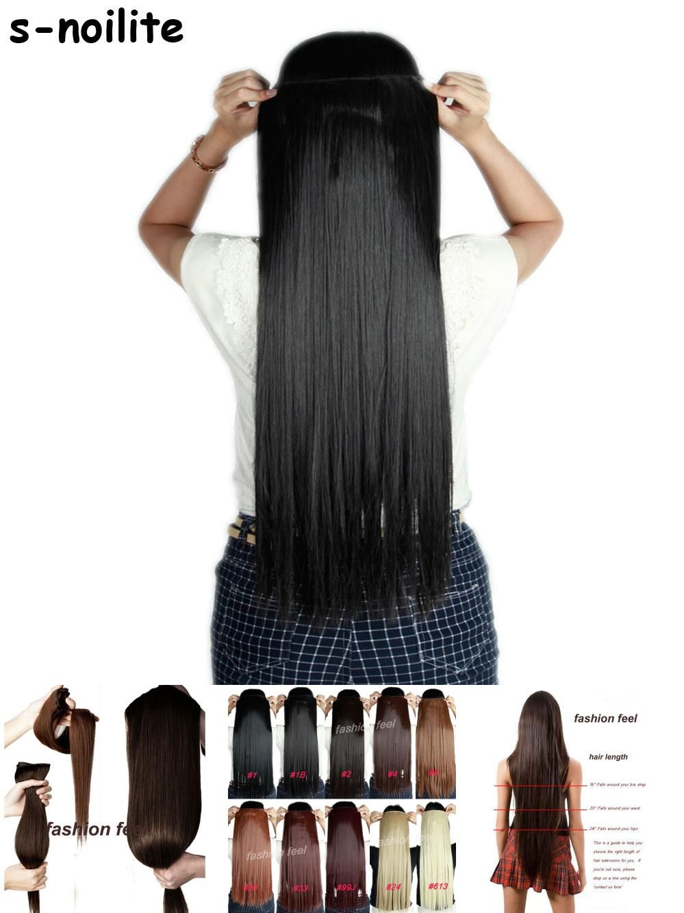 Visit To Buy 58 76cm Straight Women Clip In On Hair Extensions 34