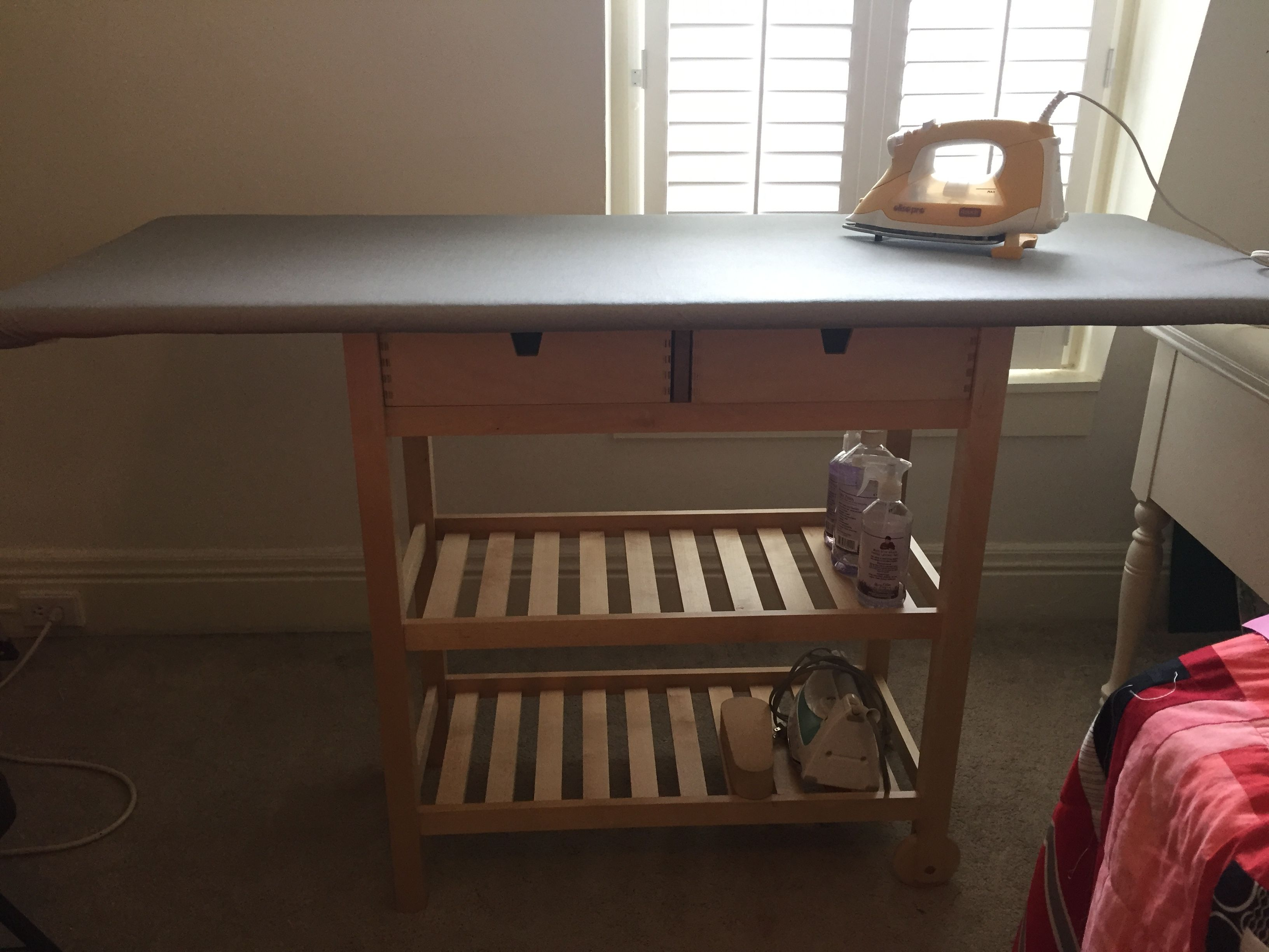 Ikea Ironing Board Hack Using The Ikea Forjoja Cabinet 24x60 Of Ironing Awesomeness Perfect For A Quilter Ikea Ironing Board Sewing Spaces Home Decor