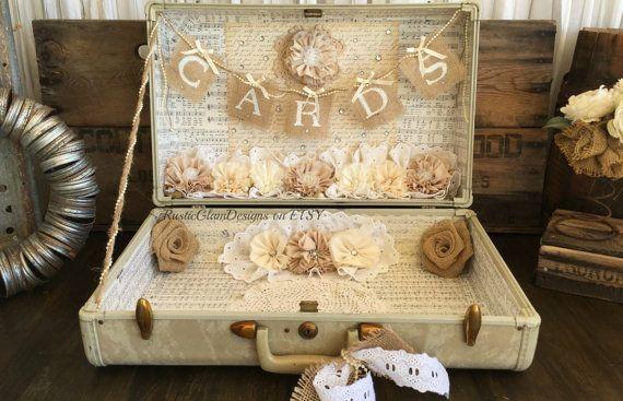 Vintage Suitcase Wedding Card Holder Shabby Chic Wedding Rustic Country Wedding #vintagesuitcasewedding