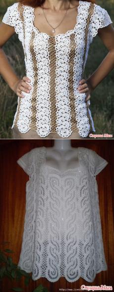Вяжем 2 модели красивейших блуз лентами.