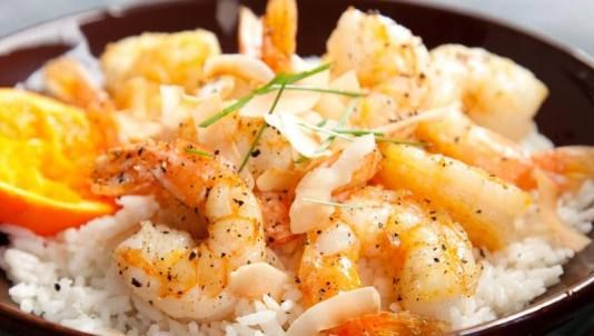 orange pepper shrimp rice