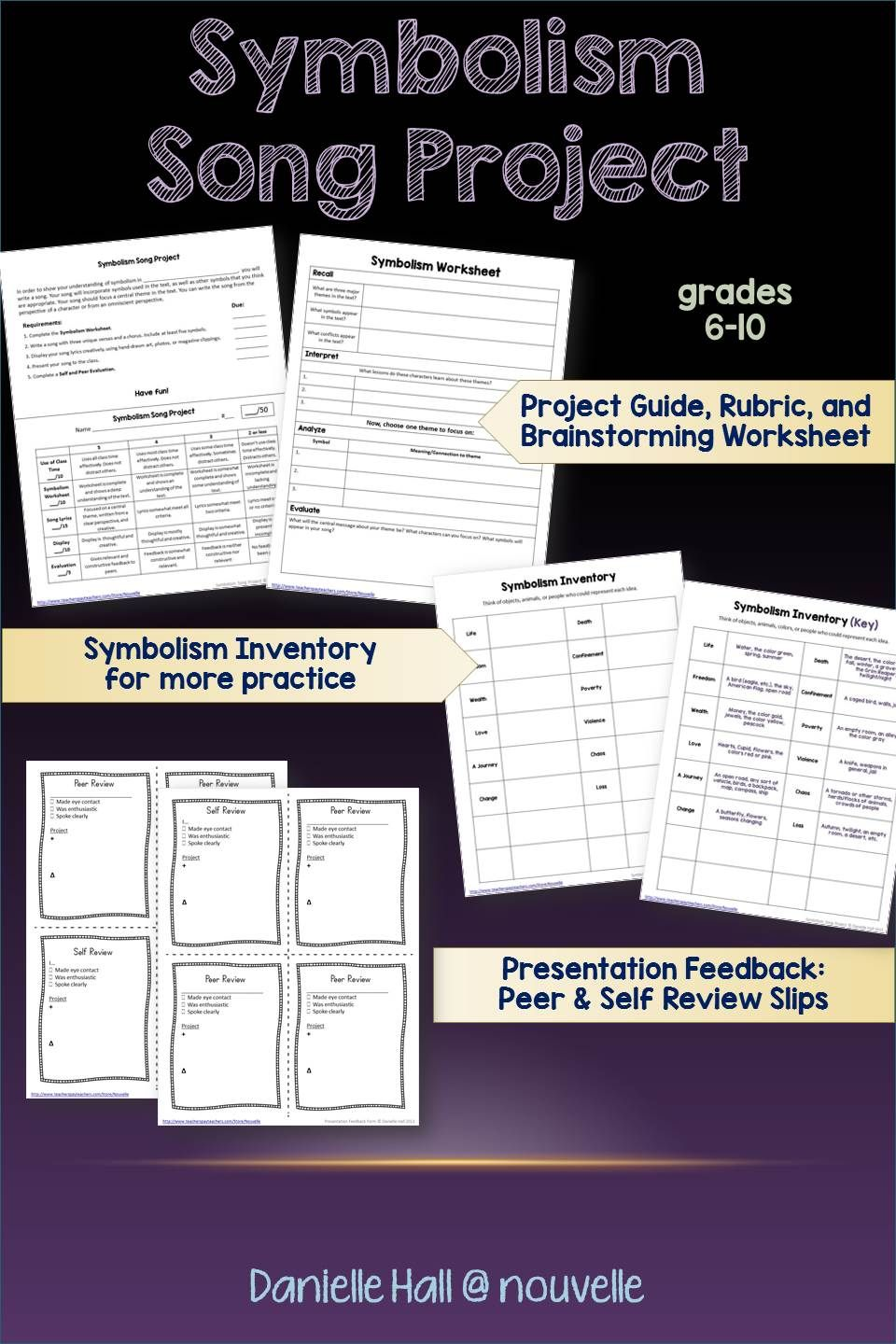 Workbooks symbolism worksheets : Students practice symbolism by writing a song. Project includes ...
