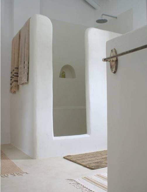 intérieur, déco : salle de bain, douche, tadelakt, blanc | La Palma ...