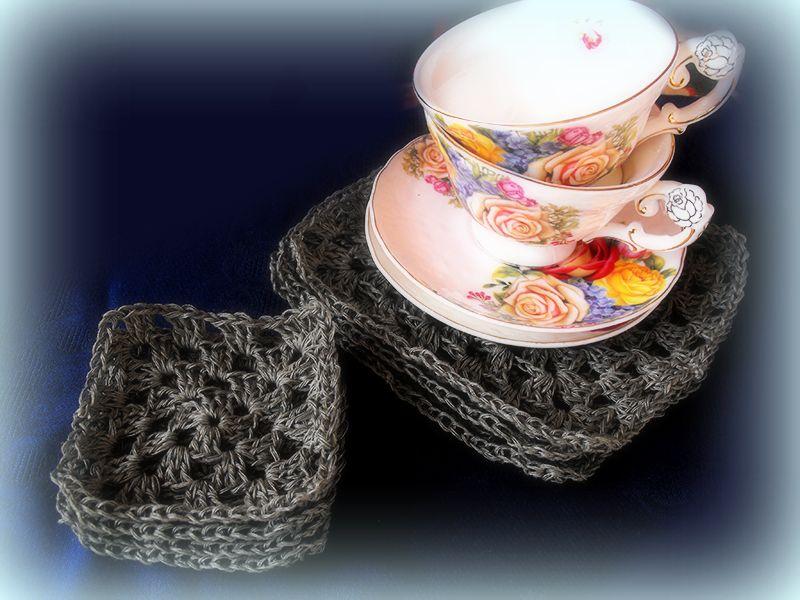 Linen crocheted coasters set