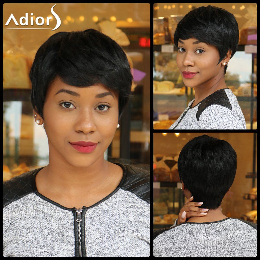 Boy hairstyle wigs ultrashort boy cut synthetic straight side bang capless wig click