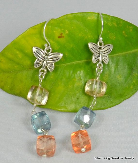 Triple Cube Mango, Ocean Water and Sunshine Quartz Sterling  Butterfly Dangle Earrings. choice of ear wire by SilverLiningGemz, $45.00