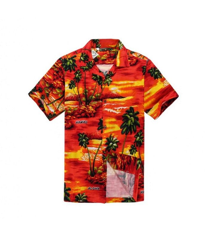 2803d23e3 Men Hawaiian Aloha Shirt in Red Sunset and Green Palm in 2019 ...
