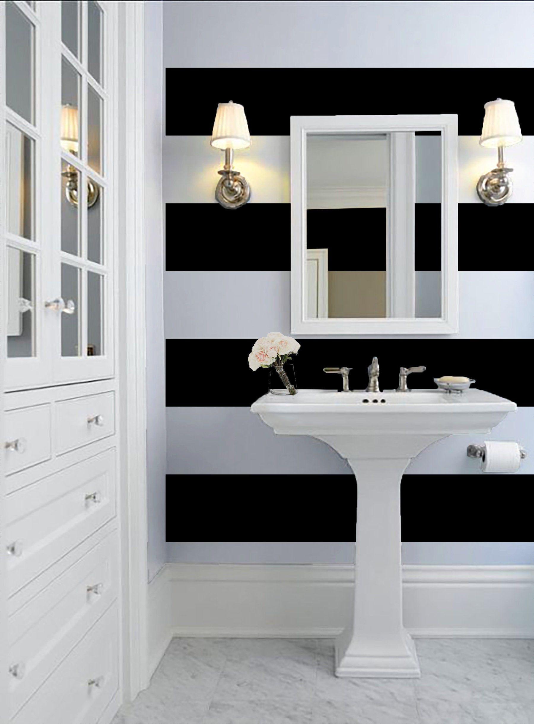 Black and White 12 Stripe Wallpaper Peel 'n Stick Etsy