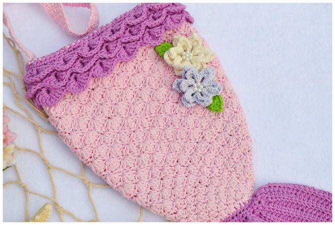 Meeria Meerjungfrauentasche Mit Blüten Häkeln Mädchentasche