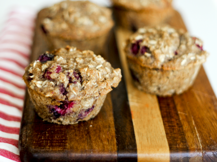 Lemon raspberry muffins made with whole-wheat flour, oats, and unsweetened applesauce