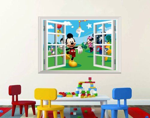 Mickey Mouse Wall Art disney mickey mouse club house 3d window scenery wall art decal