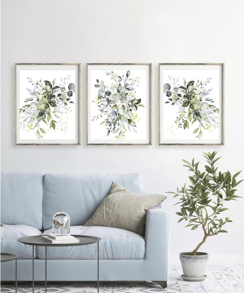 Botanical Print Set Home Decor Gift Living Room Wall Art Abstract Painting Leaf Print Plant Poster Foliage Watercolor Greenery Green In 2020 Wall Art Living Room Wall Decor Bedroom Wall Decor