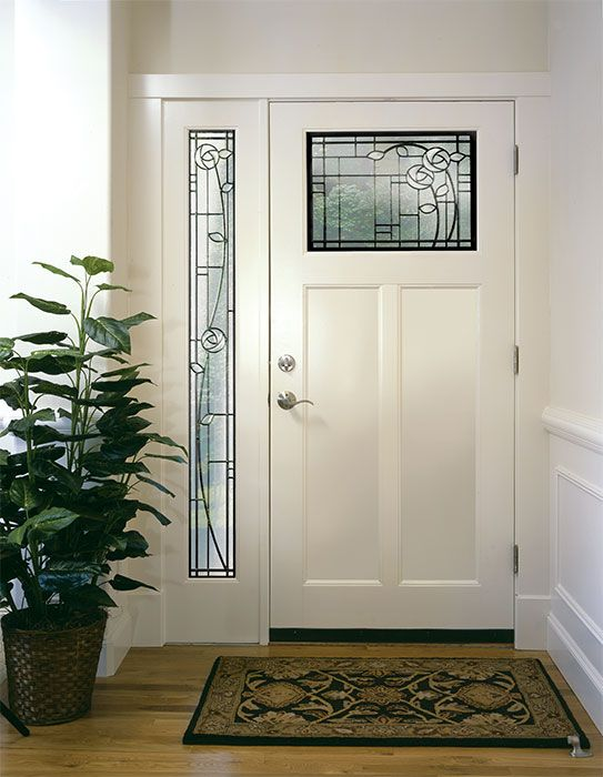 Exterior Doors | white door and sidelight with designer glass by ...