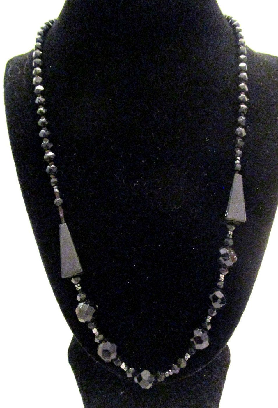 Antique ART DECO Czech Mourning Glass Faceted Beads Flapper Necklace N133 by MyJewelsBoutique on Etsy