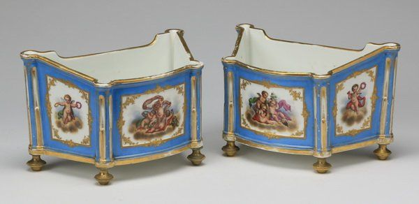 (2) Early 20th c. Sevres style jardinires : Lot 1179