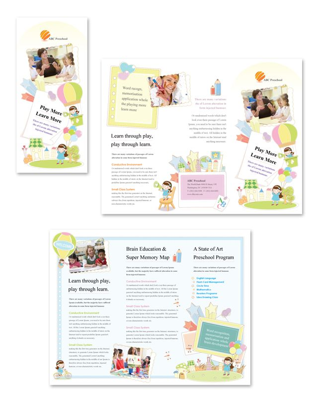 Preschool Tri Fold Brochure Template  School Brochure Design