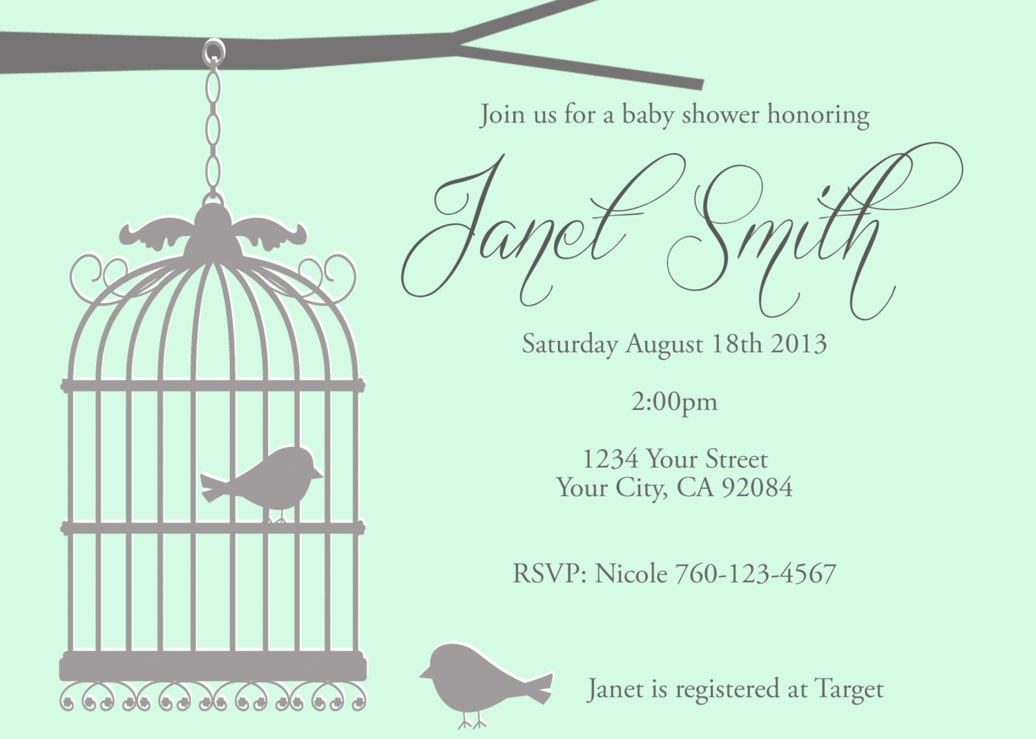 Little Birds Baby Shower Invitation Digital by SassyStationery760 ...