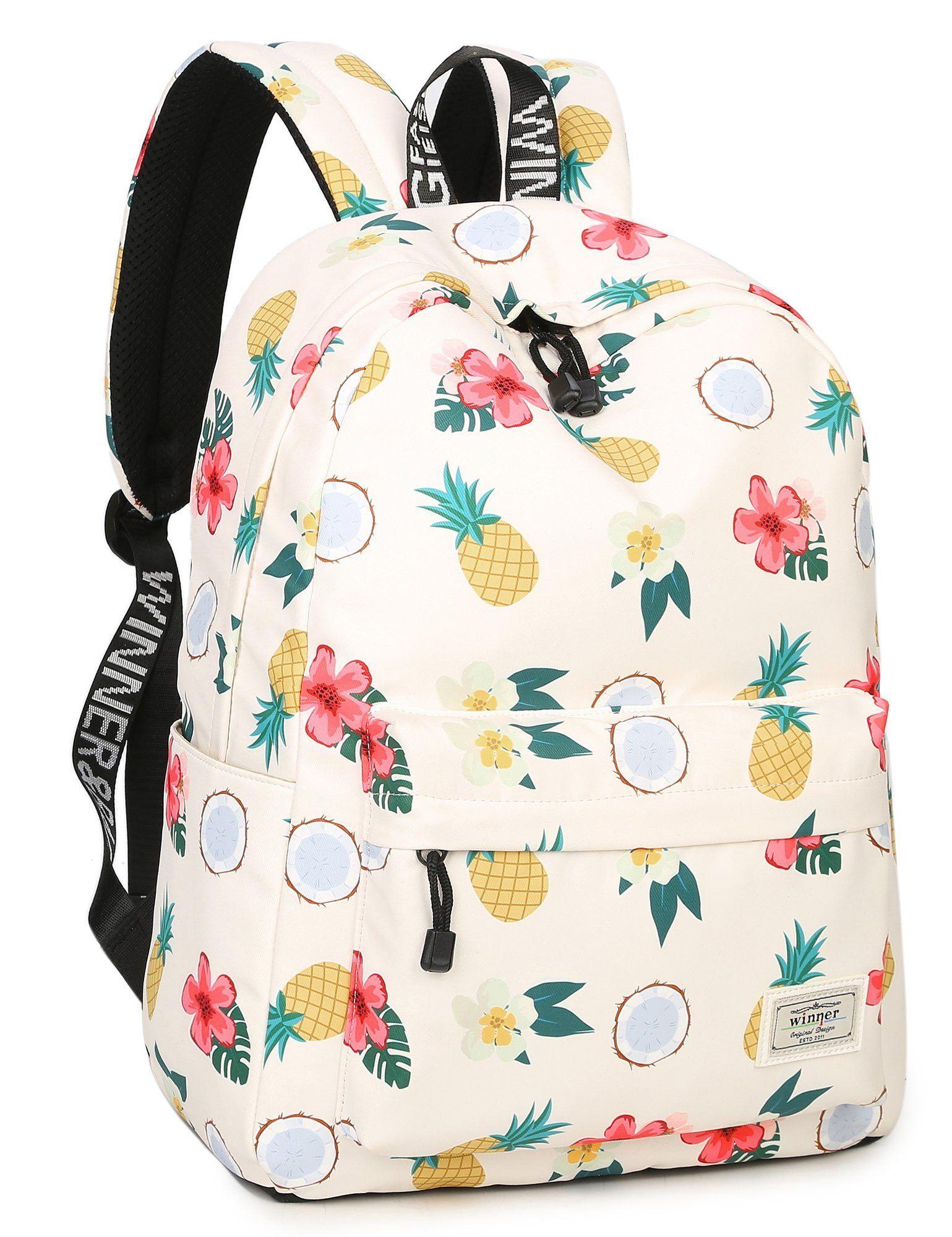 school bookbags for girls floral pineapple printed backpack