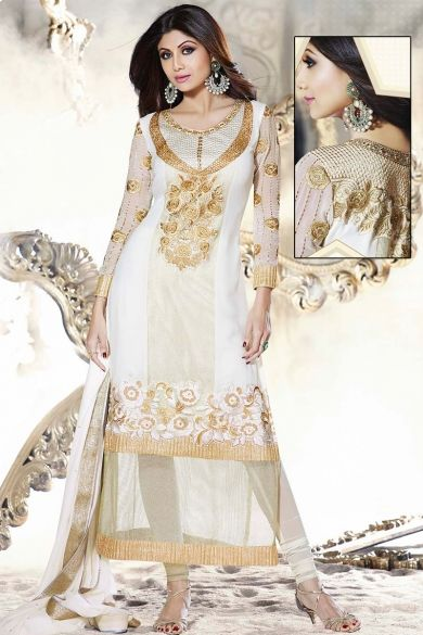 Off-white Faux Georgette Embroidered Festival #ChuridarKameez Sku Code:223-5182SL966350 US $ 81.00 http://www.sareez.com/product_info.php?products_id=164213