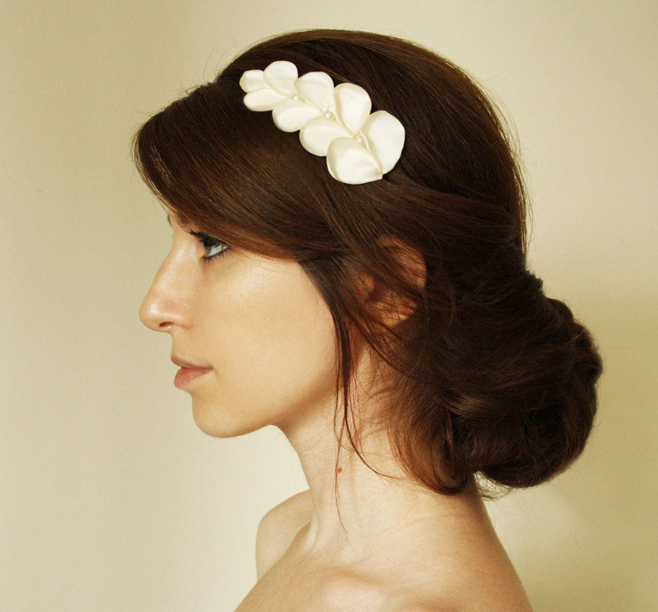 troy bridal hair comb, ivory satin and pearl greek inspired hair