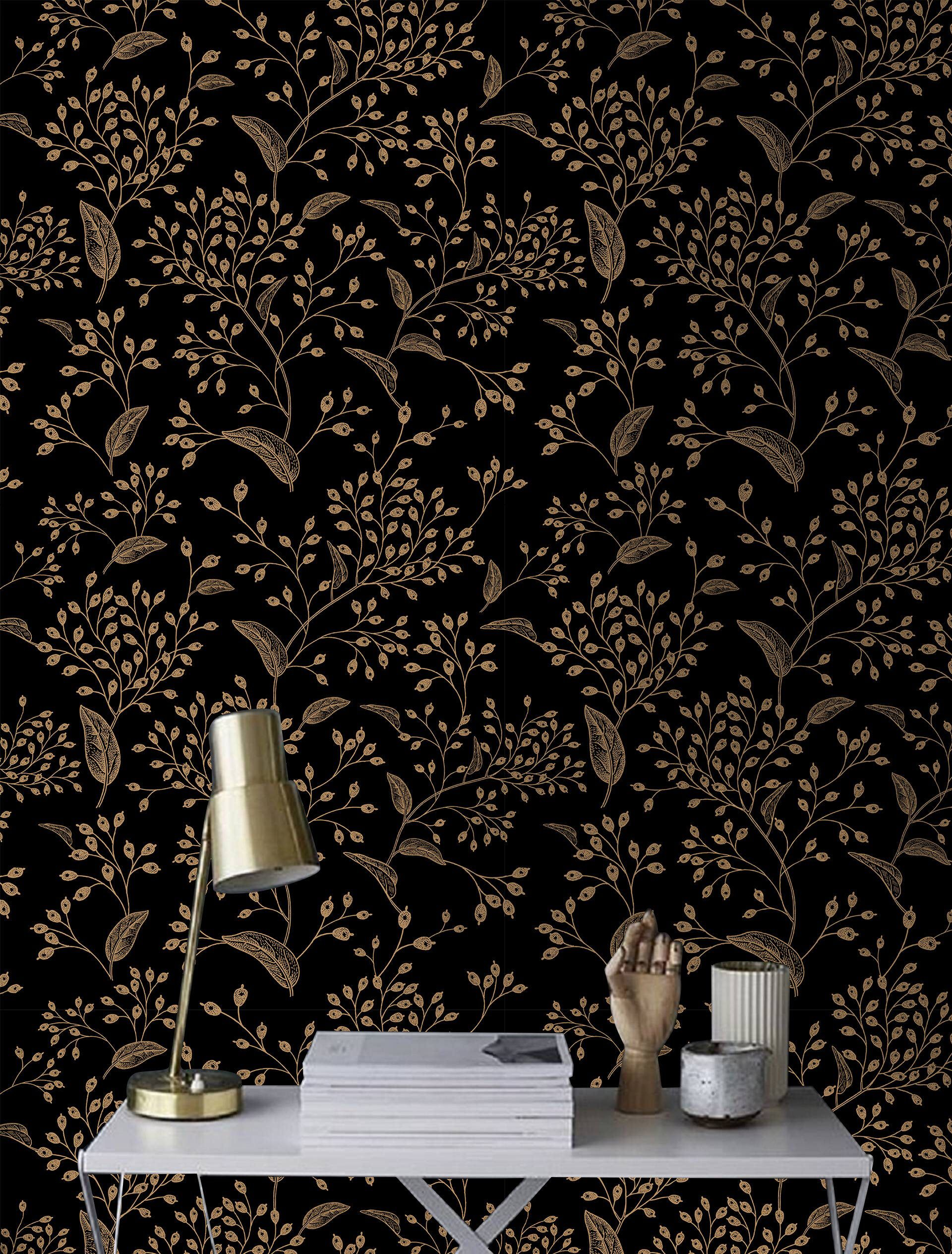 Gold Rowan Removable Wallpaper Gold And Black 43 Etsy Removable Wallpaper How To Install Wallpaper Traditional Wallpaper