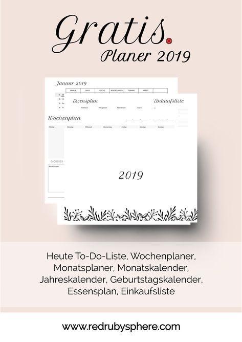 Gratis Vorlagen Für Planer 2019 Kalender Selbst Gestalten