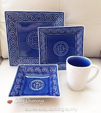 Artistic Accents Dinnerware 16-Pc Set Cobalt Blue Salad Dinner Plates Bowls Mugs & Artistic Accents Dinnerware 16-Pc Set Cobalt Blue Salad Dinner ...