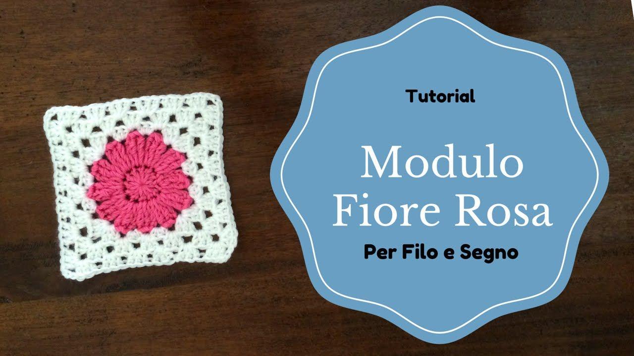 Tutorial mattonella con fiore rosa crochet pinterest crochet