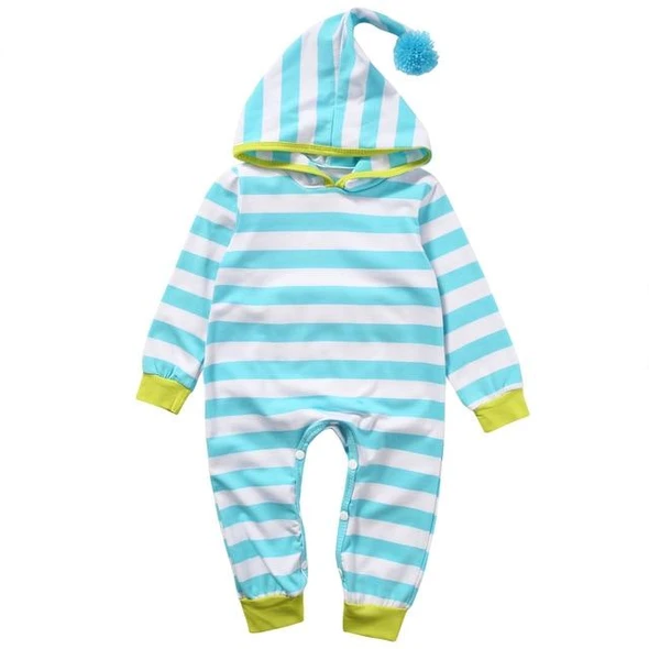 Newborn Baby Boy Girl Striped Romper Jumpsuit Bodysuit Hooded Clothes Outfits