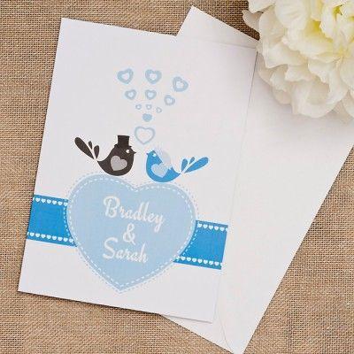 classic bluebird wedding invitations white envelopes colored