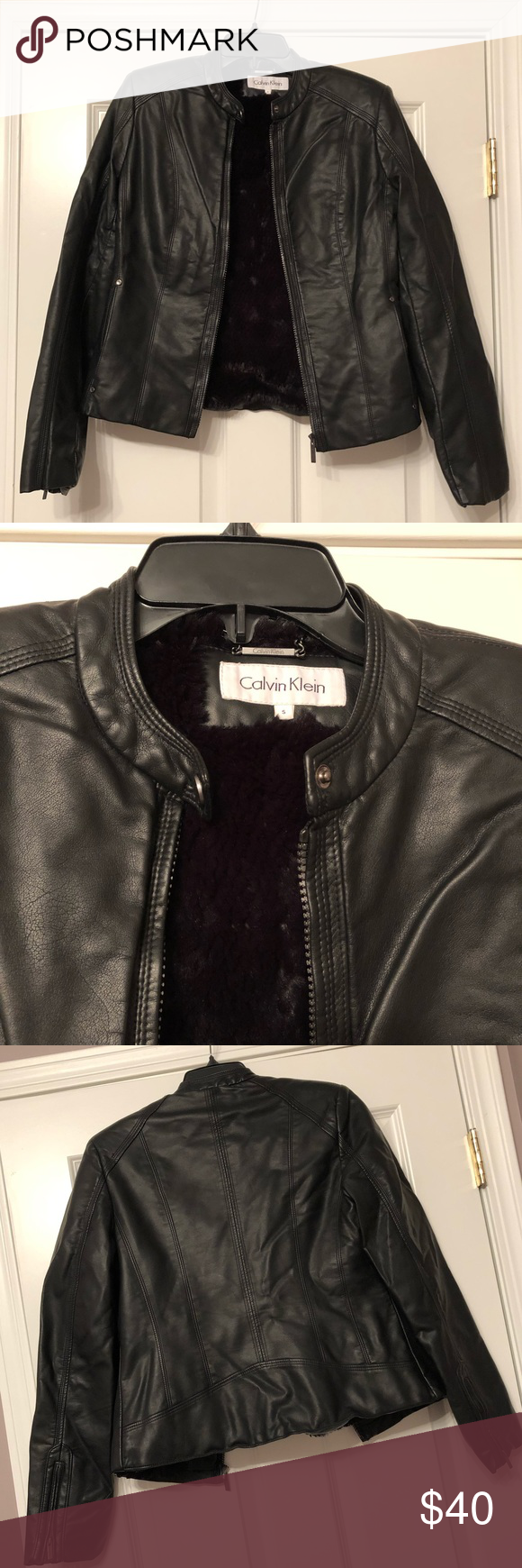 Calvin Klein Faux Leather Jacket (S) Calvin Klein Faux