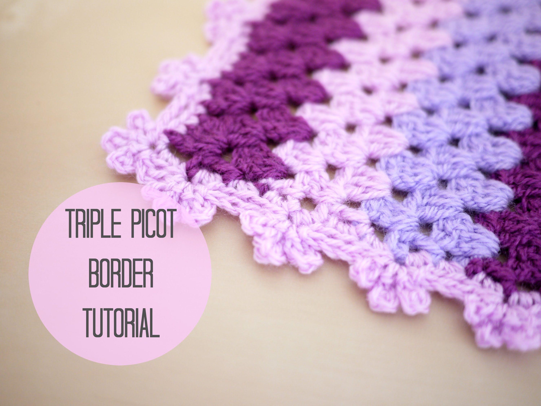 CROCHET EDGE: Triple picot border tutorial by Bella Coco ~ in UK ...