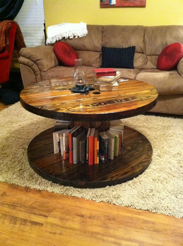 spool coffee table. my husband refinished this for my valentines