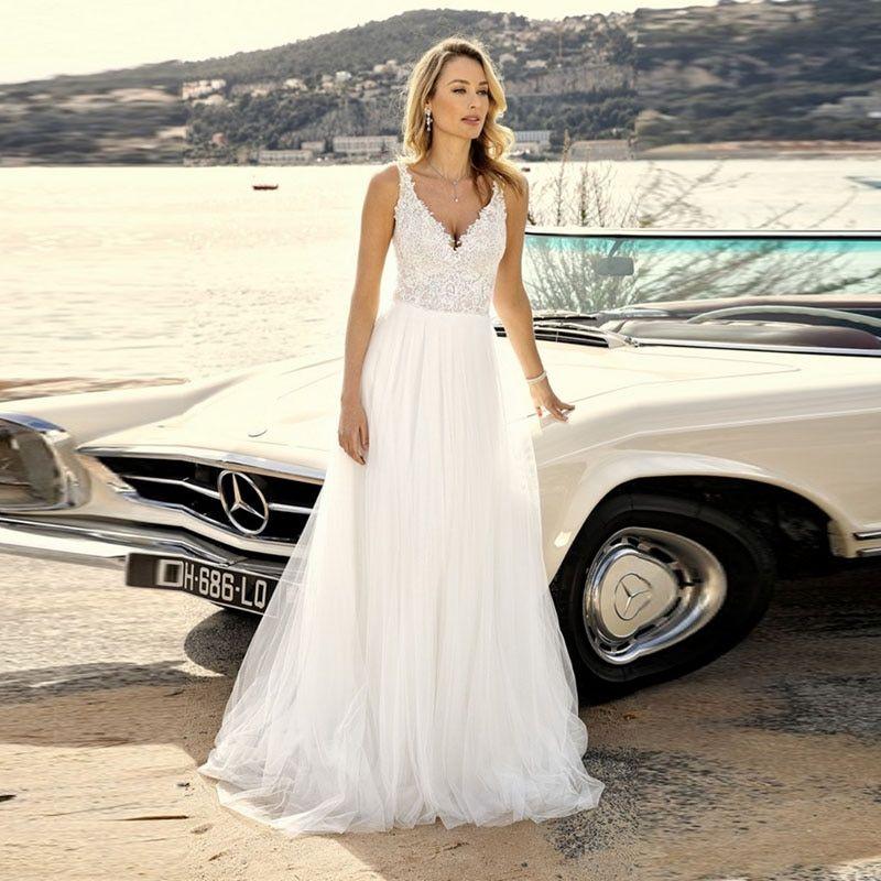 Beach Wedding Dressesv Neck Appliques Lace Tulle Skirt Summer Boho