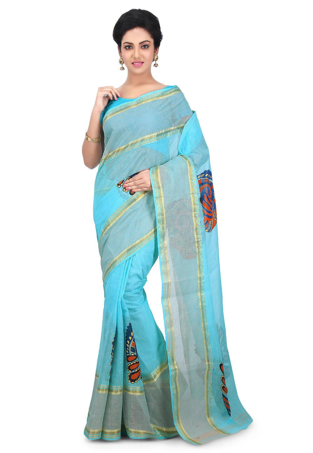 13f2366f9c47de Cotton Silk Saree in Sky Blue Enhanced with Hand Painting and Zari Woven  Available with an unstitched Cotton blouse in Sky Blue Free Services  Fall  and ...