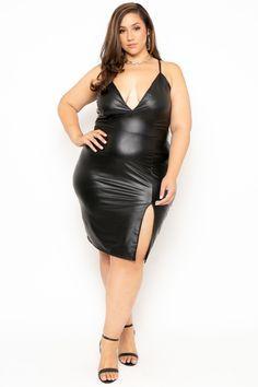 Plus Size Faux Leather Cami Dress - Black
