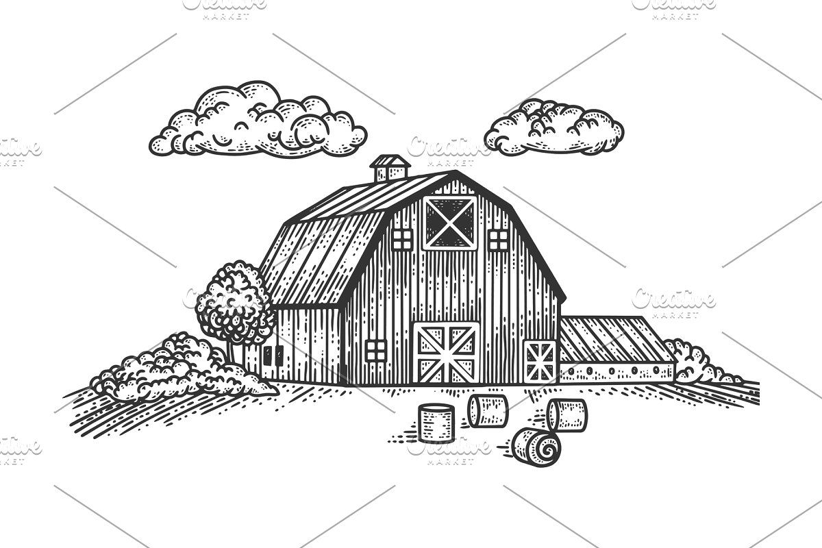 Wooden Farm House Sketch Vector In 2020 House Sketch Illustration Small House