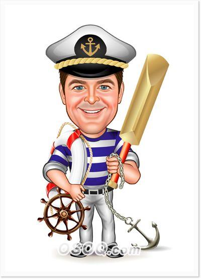 Повышением должности, моряк смешной рисунок