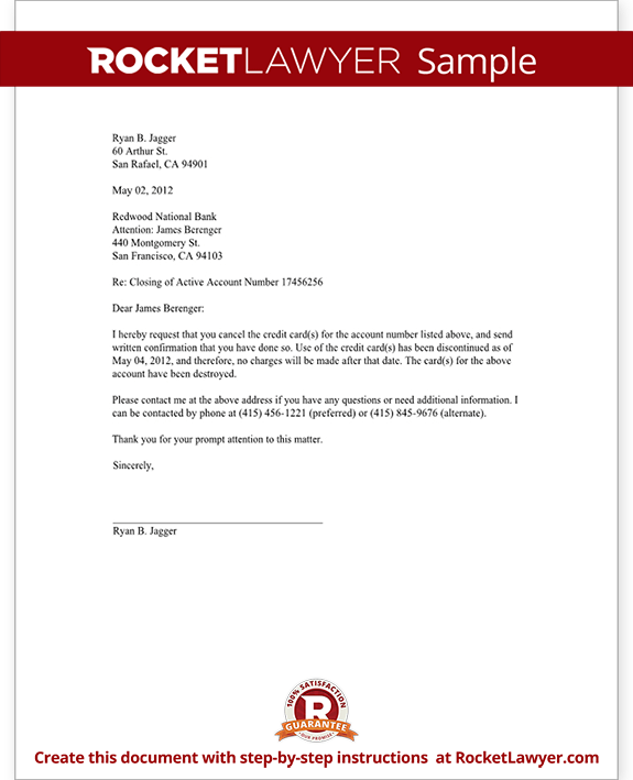 credit card cancellation letter request cancel samples writing