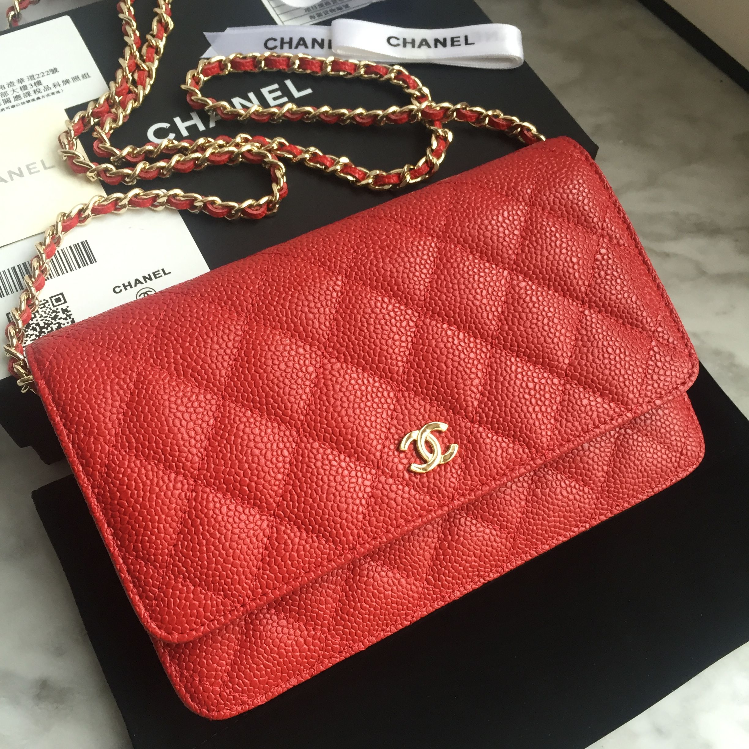 668837d976ae Chanel woc wallet of chain woman flap bag caviar original leather red