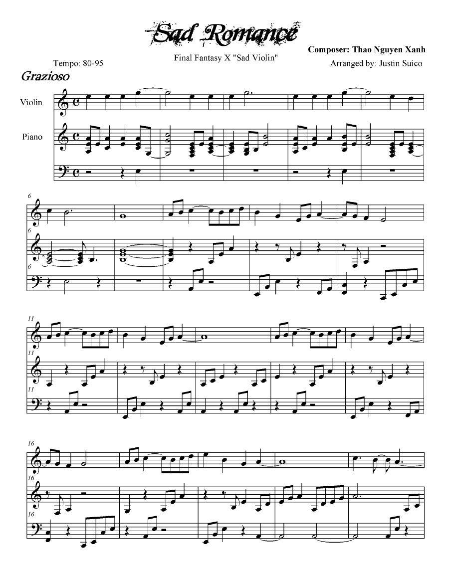 sad romance sheet music pdf